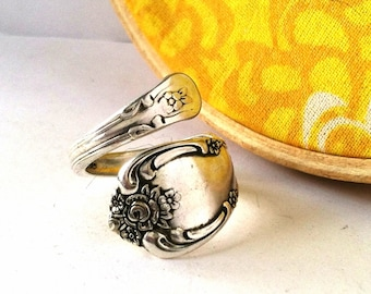 Wrapped Spoon Ring, Size 7, Vanessa 1965, Eco Friendly Upcycled Ring