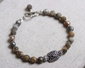 Silver Leaf Agate Beaded Bracelet with Ornate Silver Focal Bead and Toggle Clasp