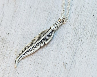 Sterling Silver Feather Necklace - Sterling Silver Chain - Gift For Her - Gift for Teen - Graduation - Bohemian Necklace