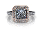 Forever One Square Brilliant and Diamond Halo Engagement Ring 2.08 CTW