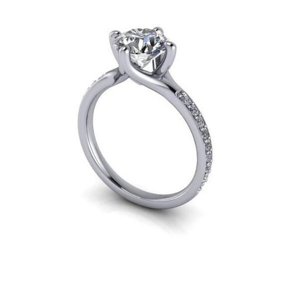 Moissanite Engagement Ring Pure Light™ Colorless Moissanite