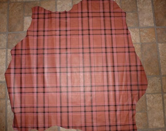 """Leather 32""""x27"""" Dark Pink PLAID Print 7 sq ft LAMBSKIN Hide  #115 1.5oz / .6mm PeggySueAlso"""
