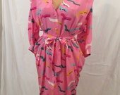 EMANUEL UNGARO Paris pink silk space age dress - made in Italy - atomic print 12 M