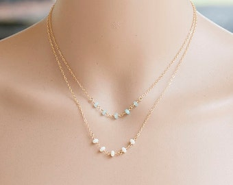 White Coral Necklace, Tiny White Coral Gold Necklace, Dainty & Delicate Gold Necklace,  white stone jewelry, Romantic jewelry