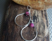 Oregon Raindrops - Large Fine Silver earrings - Hand forged Silver dangles with pink crazy lace agate