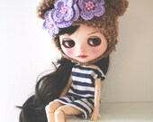 Bear hat. Blythe clothes.  Ear hat for newborn prop. ooak Blythe bear hat. Blythe accessories. Blythe doll hat. Camel bear, caramel bear hat