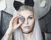 Black Oversized Hair Bow With Silver Skull and Crossbone