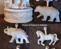 Vintage, Carousel music box, Carousel Elephant, Carousel horse,  bear, Tiger, Ceramic bisque, u-paint,ready to paint