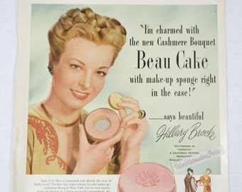Vintage Cashmere Bouquet Beau Cake Make up Advertisement 1947 with Hillary Brooke and Vintage A & P Coffee Ad on Back