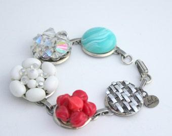 Turquoise Bracelet, Something Blue, Shabby Style Jewelry, Earring Bracelet, Southwestern Jewelry, Unique Jewelry, Unique Bracelet,Americana