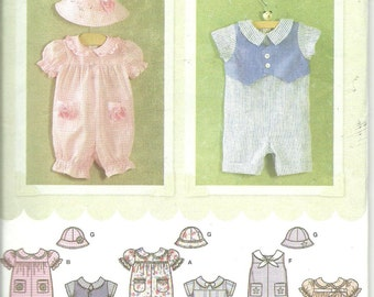 Simplicity Pattern 4289 Baby Infant Romper and Hat Boy Girl (NB - 18 mo) UNCUT