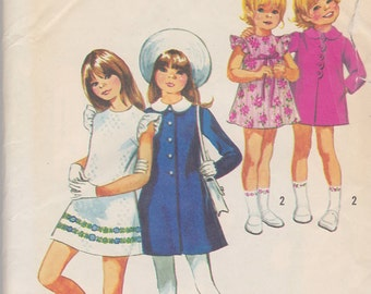 1971 Girls Mod Sunday Best Mini Dress and Scallop Front Coat Vintage Pattern, Simplicity 9842, A Line, Ruffled Sleeve, Peter Pan Collar