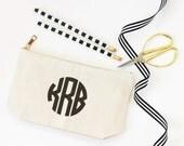 Monogram Make Up Bag Personalized Cosmetic Bag Canvas Pencil Pouch Monogram School Supplies Pencil Bag Teacher Gifts Travel Zipper Pouch