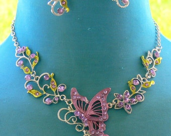 chain rhinestone  butterfly Necklace and earrings