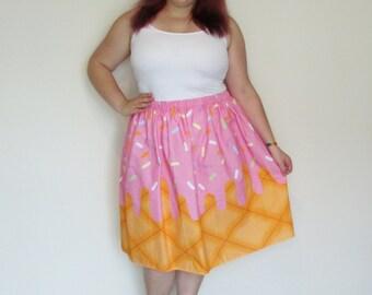 Strawberry Ice Cream Midi Skirt