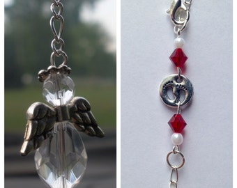 Loss of a Child Guardian Angel Car Charm, Miscarriage Memorial, Car Charm, Birthstone Angel, Footprints, Sun Catcher, Free Shipping