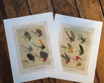 BASS FISHING PRINTS -  fly tying - 2 glorious fly fishing bait - set of two prints of fishing tackle - orvis flies