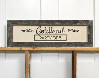 """22.5x7.5"""" Customizable Family Sign - Barnwood and Cotton Canvas - Last Name Sign - Family Number Sign - Housewarming Gift - Reclaimed Wood"""