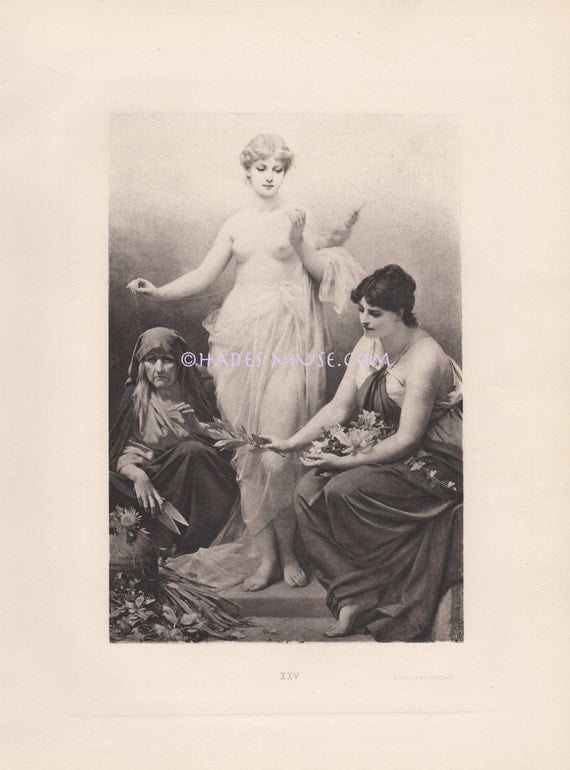 Fortune Tellers-Nude Witch-The Three 3 Fates-1891 Old Antique Vintage Art Print-Picture-Greek Mythology-Past-Present-Future-Life By A Thread