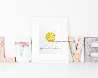 You Are My Sunshine Wall Art Framed Nursery Decoration Nursery Gender Neutral Nursery Art Button Art Swarovski Crystals Vintage Buttons