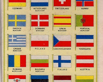 vintage FOREIGN COUNTRIES FLAGS Book illustration victorian 1931 Art Deco 2