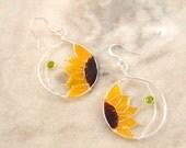 Resin Filled Sunflower Wire Earrings