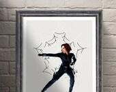 Black Widow Avengers Poster , ART PRINT illustration, The Avengers, Marvel, Superhero, Home Decor, Wall Art
