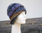 winter knit hat, tan retro cloche, lavender, beige felt decoration, womans beanie, unique fashion, asymmetric, elegant, cappuccino beanie
