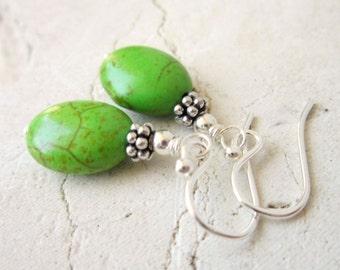 Apple Green Turquoise Earrings.  Green Turquoise Dangle Earrings. Howlite Stone & Silver Drop Earrings. Howlite Jewelry. Turquoise Jewelry