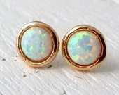 Opal earrings,White Opal stud earrings,Opal studs,Opal stud earrings, Gold or silver stud earrings, October birthstone earrings, opal studs