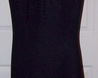 Vintage Ladies Black Cocktail Dress Sequins Front by Liz Claiborne Size 6 Only 9 USD