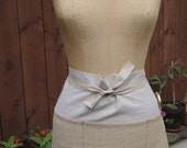 Linen Half Apron - 5 pocket in Natural and Wheat Colorblocked