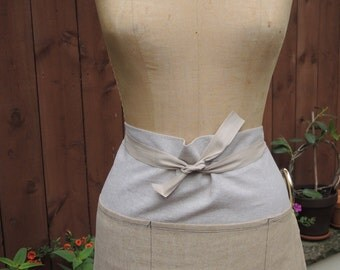 Linen Waist Apron Cafe Apron, Crafter -Linen Blend 5 pocket in Natural and Wheat Colorblocked