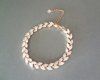Rose gold bracelet ~ Cubic Zirconia bracelet ~ Brides bracelet ~ Rose gold wedding bracelet ~ Leaf design ~ Tennis bracelet, Lux ~ LILLY