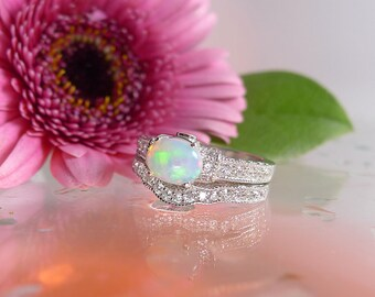 Opal Engagement Ring And Matching Band Wedding,Engagement Ring, Opal Ring, Sterling Silver