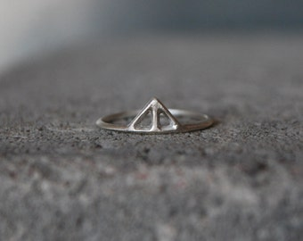 Small TAIKA Ring sterling silver - hand carved unique design minimalist skinny thin ring in recycled silver, Wild & Arrow