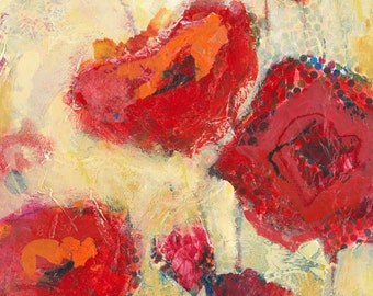 Red Poppy Flowers, original painting in mixed media