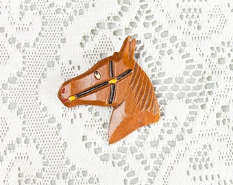 Vintage 1940s Hand painted Wooden Horse Head