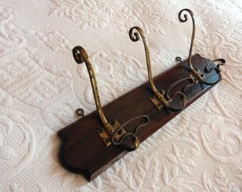 French antique coat rack hook, hat rack, wooden wall rustic coat hanger w 3 brass knobs hat hooks, wooden hat hanger French home decor