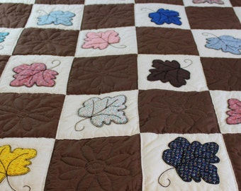 Vintage maple leaf quilt handmade appliqued and embroidered
