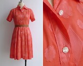 10 to 25% OFF (See Shop) Vintage 80's 'Queen Of Clubs' Coral Textured Cotton Shirt Dress XS or S