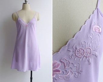 Vintage 80's 'Sweet Nothings' Lilac Embroidered Slip Dress XS or S