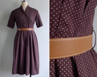 Vintage 60's Chocolate Brown Polka Dot Cotton Shirtwaist Dress M or L