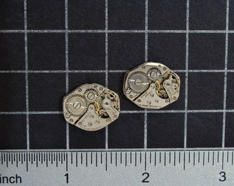 Vintage Watch Movements for Cufflinks or Earrings a Matched Set with Gears, for Jewelry Making, Mixed Media, Steampunk Art  Supplies 04306