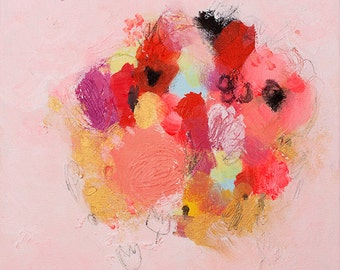 "Pink Abstract floral painting Original acrylic painting ""Small English Garden 4"" by Duealberi"