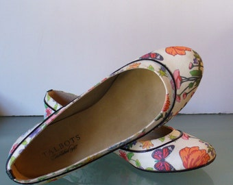 Talbots Floral Fabric &  Leather  Ballet Flats  Size 7M