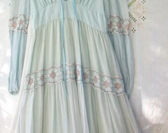 1970's era Gunne Sax Long Dress ~ Wispy Baby Blue Cotton w/ Blue & Mauve Lace ~ Bohemian Hippie Chic ~ Lace up Front