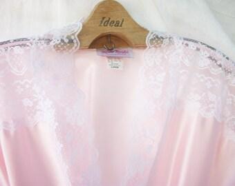 Pink Satin Robe ~ Slinky Satin and White Lace ~ Full Length ~ NOS ~ Feminine ~ Soft Color ~ Vintage Large