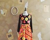 Vintage 1960s VICTOR COSTA Rare Early Batik Print Mini Dress -Festival Of Colors-