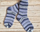 Wool knit socks Norwegian pattern, knit winter socks, winter midcalf socks, handmade socks